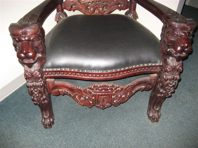 #42 U2013 Beautifull Carved Mahogany Lion Head Gothic Throne Kings Chair Made  From Mahogony . Measures 35u201d Wide X 72u201d High. Cushion Measures 24u201d Wide At  Front.