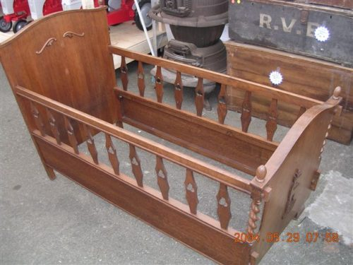 #69 –     Antique Oak DOLL CRIB